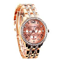 Geneva Diamond Rose Gold Stainless Steel Women Girls watch