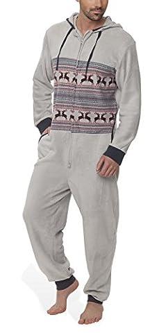 SLOUCHER - Herren Fleece Jumpsuit Onesie Einteiler mit Reißverschluss und Kapuze, Farbe:grau, (Pyjama Overall)
