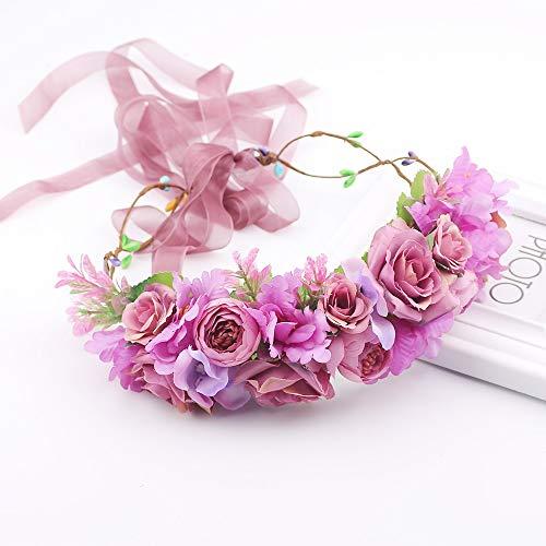 Fang-denghui, Frauen Lila Blume Stirnband Für Frauen Hochzeit Blumen Stirnband Hochzeit Prom Festival Decor Prinzessin Blumenkranz (Size : Size fits All)