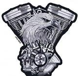 Patch écusson Aigle Vtwin pour blouson veste et gilet biker (Grand format 24 x 25 cm)