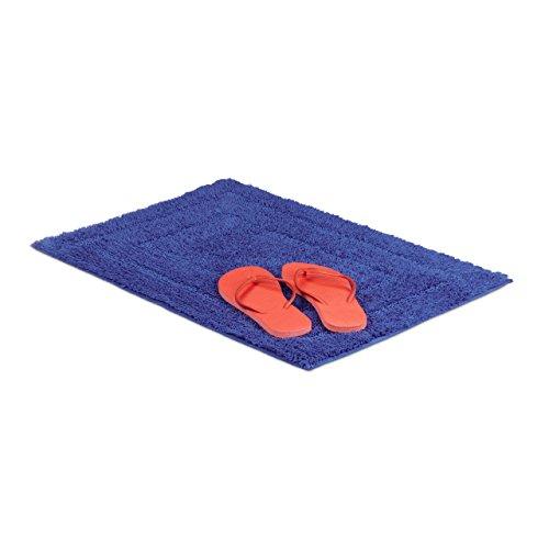 Relaxdays Badteppich Blau BENNY 100% Baumwolle, maritim, Badvorleger und Badläufer, 50 x 70 cm, waschbar, Teppich, dunkelblau
