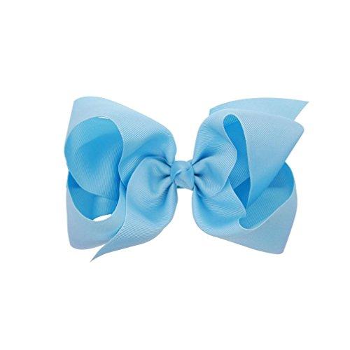 Clode® Girls Kids Toddler Flowers Grosgrain Ribbon Hair Clip Bow Accessories Bowknot Hairpin Headdress (Light Blue)