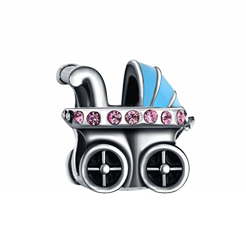 Charme Pandora Auto (Bling Sterne Baby Beförderung Charme mit rosa Swarovski Elements Kristall für Pandora Charms Armband)