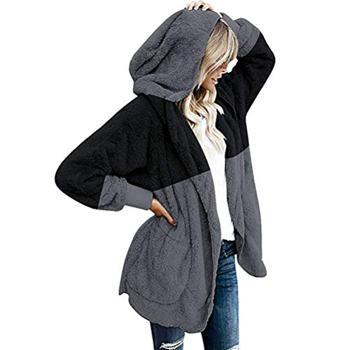 (Farbblock Fellmantel, Damen Warm Lange Kunstpelz Mäntel Strickjacke Winter Revers Pelzmantel mit Tasche Kapuze Elegant Cardigan Wintermantel Große Größe Outwear)