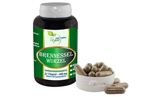 VITAIDEAL VEGAN® Brennessel Wurzel 360 pflanzliche Kapseln je 400 mg, rein natürlich ohne Zusatzstoffe.