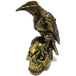 Steampunk Dark Crow Raven Réglage sur Tête de mort squelette Sculpture Statue