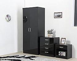 Fairpak Gladini High Gloss 3 Piece Bedroom Furniture Set - Includes Wardrobe, 4 Drawer Chest, Bedside Cabinet (Black)
