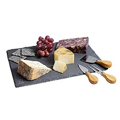 Artesà Slate Cheese Board and Cheese Knife Serving Set (4 Pieces)