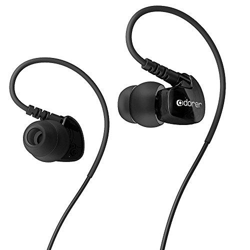 Adorer Auriculares deportivos, AD1 Anti-sudo In-Ear Cascos con micrófono, aislamiento de ruido premium para iPhone, iPad, Huawei, XiaoMi, Android, MP3 etc - Negro