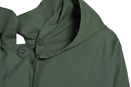 Trenchcoat lang, Pagacat Damen Winddicht Wasserdicht Atmungsaktiv Regenjacke mit Gürtel Herbst Frühling 4 Farben S-XXXL Armee Grün