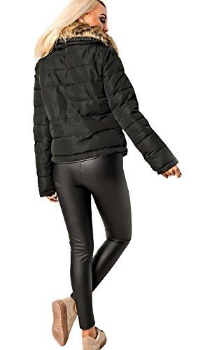 Women's Ladies Stunning Faux Fur Collar Collared Glam Coat Jacket Black