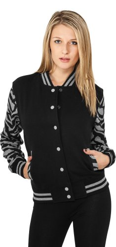 Urban Classics Ladies Zebra 2-tone College Sweatjacket Damen grau-schwarz grey/black, S