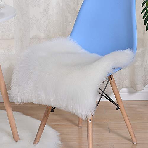 Trayosin Sitzkissen,Faux Lammfell Schaffell Sitzauflage Longhair Fell Optik Nachahmung Wolle Sofa Matte (Weiß, 40 * 40cm)