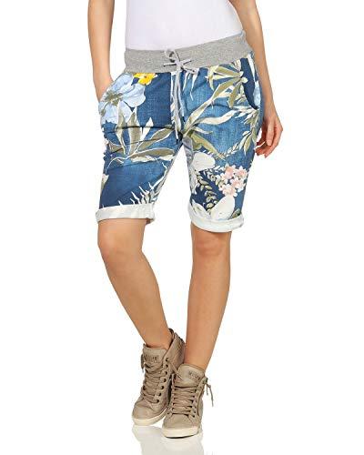 ZARMEXX Damen Shorts Capri Bermuda Boyfriend Sommerhose Sport All-Over Print One Size Muster 7 One Size (34-38)