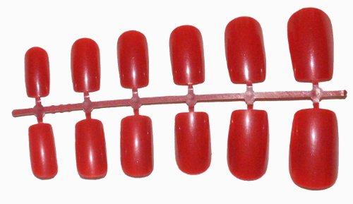 Vin rouge 24 Full Cover Flexi coloré Faux Ongles Pointes Courtes Taille M