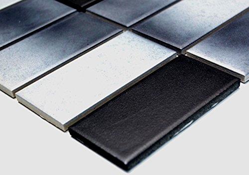 Mosaik-Netzwerk Mosaikfliese Rechteck mix grau rutschhemmend R10C Keramik rutschsicher trittsicher anti slip rutschfest Duschtasse Boden Küche Bad WC, Mosaikstein Format: 45x95x6 mm, Bogengröße: 336x290 mm, 1 Bogen / Matte