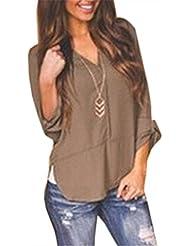 ZANZEA Mujeres Camiseta V Cuello Manga Medio Blusa Camisa Casual Top Tee Shirt 34-50