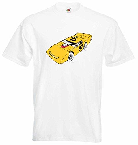 T-Shirt D748 T-Shirt Herren schwarz mit farbigem Brustaufdruck - Design Tribal Comic / Auto Tunning / Nascar Rennwagen Schwarz