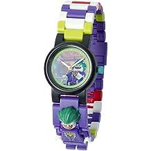 Reloj infantil modificable con figurita del Joker de BATMAN: LA LEGO PELÍCULA; púrpura/verde; plástico; 28 mm de diámetro; Cuarzo analógico  chico chica; oficial