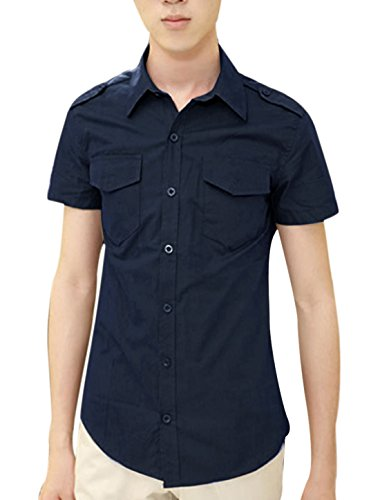 Mann Knöpfe Dekor Brust Taschen Epaulette Modern Shirt Dunkelblau