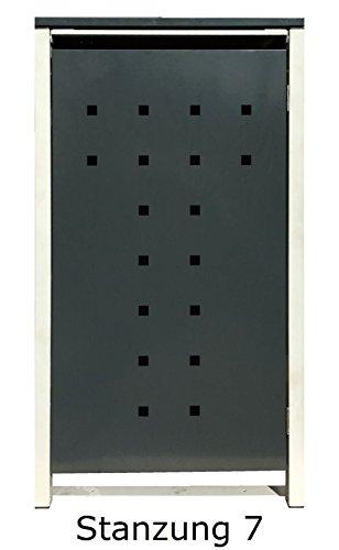 BBT@ | Hochwertige Mülltonnenbox für 4 Tonnen je 240 Liter mit Klappdeckel in Grau / Aus stabilem pulver-beschichtetem Metall / Stanzung 7 / In verschiedenen Farben sowie mit unterschiedlichen Blech-Stanzungen erhältlich / Mülltonnenverkleidung Müllboxen Müllcontainer - 6