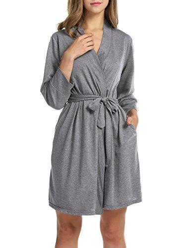 Unibelle Damen Morgenmantel 3/4 Ärmel Bademantel Kimono Baumwolle Saunamantel Robe Negligee Mit V-Ausschnitt 1-Hellgrau