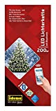 Idena LED Lichterkette 200er, ca. 25 m, für innen/außen, warm weiß (200 LEDs (per Smartphone steuerbar))