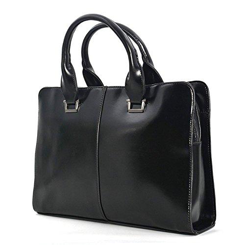 Men bags PU Leather Briefcase for mans Laptop Bag Shoulder Handbag School Work Business New material package - Black…