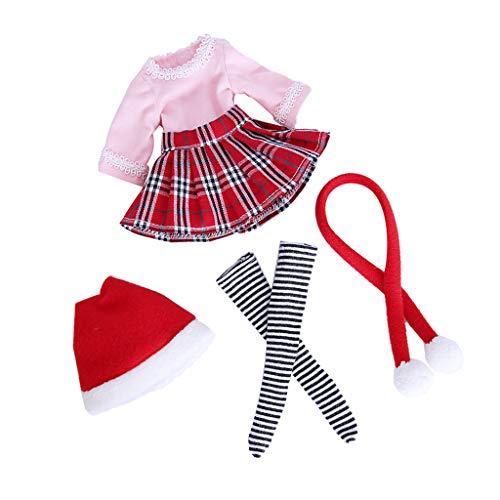Baoblaze Modische Puppe Weihnachten Kleidung Outfit Für 1/6 BJD Puppen Dress Up Zubehör - A - ()