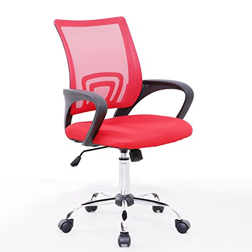 SVITA Kinder Schreibtischstuhl Bürostuhl Netzbezug Drehstuhl Stuhl Schreibtisch(Rot) -