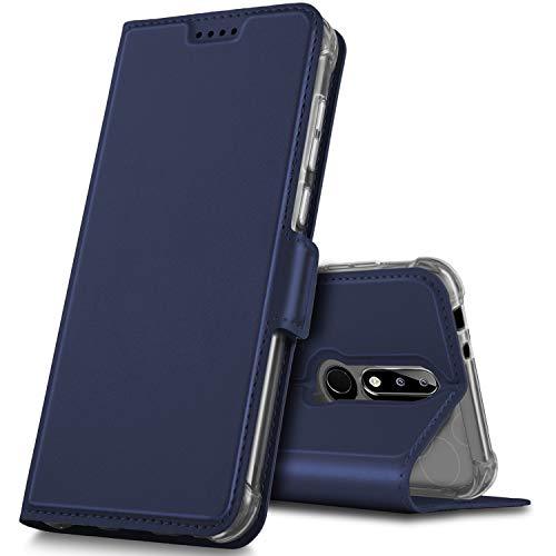 GeeMai Nokia 5.1 Plus Hülle, Nokia 5.1 Plus Leder Hülle Flip Case Tasche Cover Hüllen mit Magnetverschluss [Standfunktion] Schutzhülle Handyhülle für Nokia 5.1 Plus Smartphone, Blau