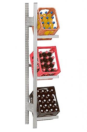 Hofe PROFI Getränkekistenregal -Anbauregal- für 3 Kisten, 175x51x34 cm | Getränkekistenhalter aus metall | Getränkekistenständer | Kistenständer für Getränke | Kistenhalter | Kistenregal | Getränkeregal