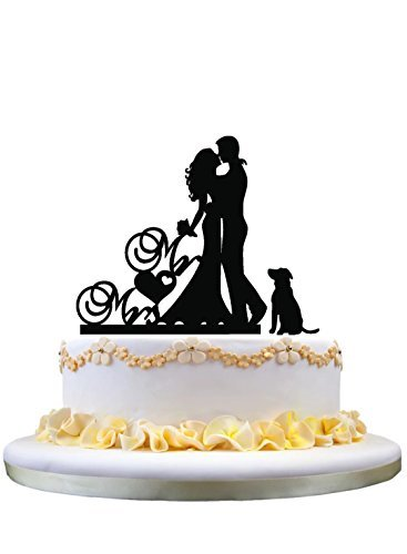 Einzigartige Hochzeitstorte Topper - Mr & Mrs Cake Topper, Süße Braut und Bräutigam Kissing Silhouette mit einem schönen Hund Silhouette (Einzigartige Hochzeitstorte Topper)