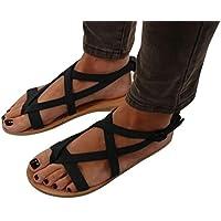 2018 Mujer Romano Sandalias Plano Zapatos Gladiador Clip Toe Sandalias, Chancletas Hebilla Romano Peep Toe Elegante Bohemia Playa Sandalias Negro Marrón 34-42Juleya (EU:42, negro)