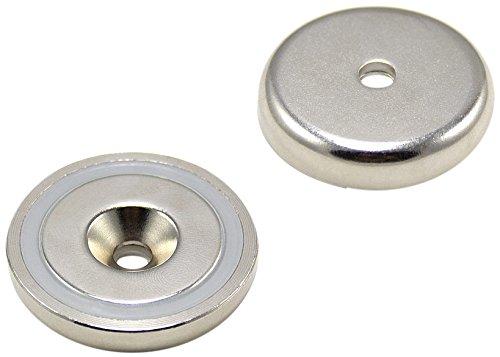 Magnet Expert® F4MA40-1 40mm de diamètre x 8mm d'épaisseur x 6mm de Profondeur-Aimant néodyme n42 Pot lavabo-64 kg d'attraction (Paquet de 1), Argent