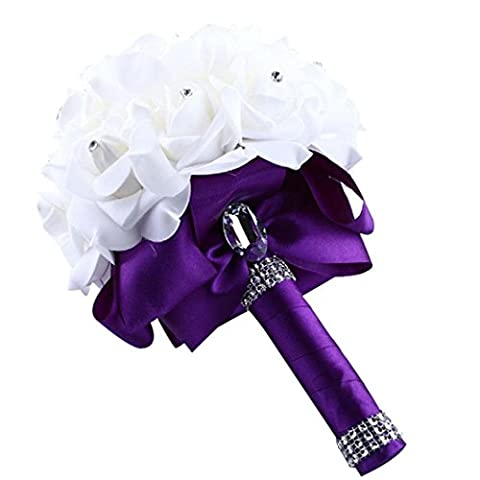Winwintom Crystal Rose Pearl Bridesmaid Wedding Bouquet Artificial Silk Flowers (Purple)