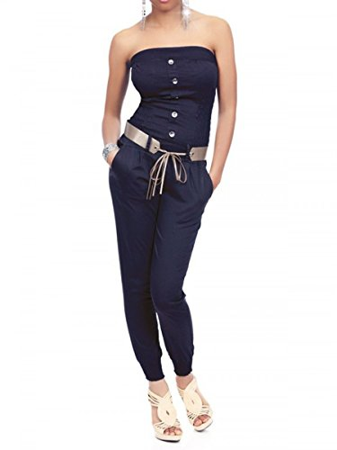 6c36ddcad291b7 Laeticia Dreams Damen Jumpsuit Overall Bustier Sommer Lang S M L XL  Marineblau