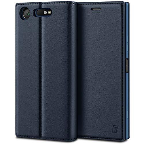 BEZ Hülle für Sony XperiaXZ1 Hülle, Handyhülle Kompatibel für Sony XperiaXZ1 Tasche, Case Schutzhüllen aus Klappetui mit Kreditkartenhaltern, Ständer, Magnetverschluss, Blau Marine