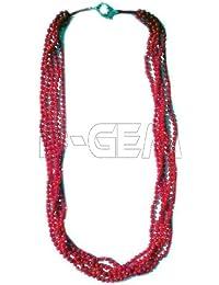 5 Saiten Halskette Koralle Rot