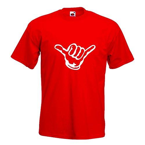 KIWISTAR - Hang loose - Alles locker - Shaka T-Shirt in 15 verschiedenen Farben - Herren Funshirt bedruckt Design Sprüche Spruch Motive Oberteil Baumwolle Print Größe S M L XL XXL Rot