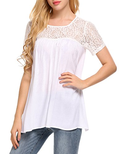 Meaneor Damen Spitzenshirt Bluse Rundhals Spitze Floral T-Shirt Loose Casual Tops mit Schnürung Hintern Weiß