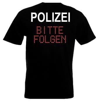 Holashirts Mallorca T-Shirt Polizei Bitte Folgen Police Funshirt Kostüm-Tshirt Auch mit eigenem Wunschname, Verein, Ort Etc. (S, Schwarz)