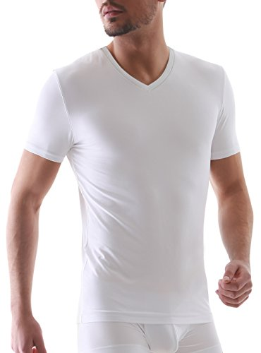 Genuwin Herren Business Unterhemden Kurzarm V-Ausschnitt Shirt Super-weich Micro Modal Unterhemd, 3er Pack (L, Weiß)