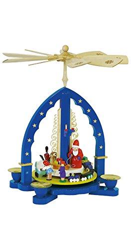Richard Glässer Seiffen Pyramide de Noël Père Noël donne des cadeaux, hauteur 27 cm, Erzgebirge originale de Richard Glaesser