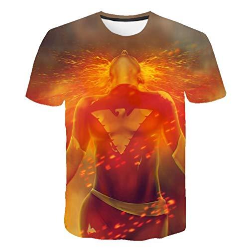 Unisex patrón 3D impreso X-Men: Phoenix oscura Camisetas de manga corta Camisetas con gráficos ocasionales (color : #C, Tamaño : XL)
