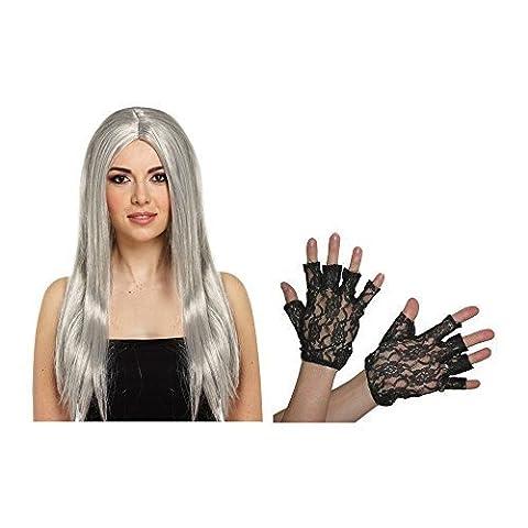 Hexen, Halloween Perücke Lang mit Fingerlose Spitzen-Handschuhe (Morticia Kostüm Zubehör)