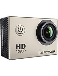 DBPOWER Cámara Action para Deportes DV 1080P Mini 30M / 98ft Cámara impermeable de 12MP con 170 grados de gran angular y pantalla LCD de 1,5 pulgadas con baterías y accesorios