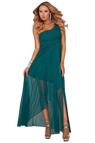 Eine Schulter Empire-Taille Kristall-Perlen Tulip Stil Brautjungfer Maxi Kleid Jade