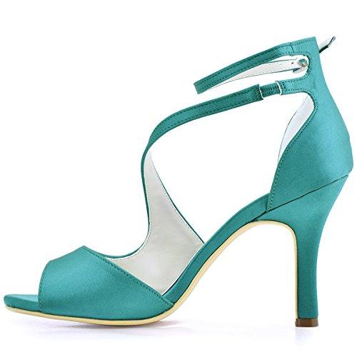 Elegantpark Hp1505 Sandales De Mariage Avec Talon Aiguille Peep Toe Chaussures De Mariage Satin Teal