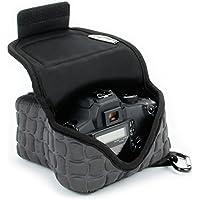 USA GEAR Funda Cámara Reflex Neopreno Protectora – Compatible con Canon EOS 700D , 1200D / Nikon D3200 , D3300 , D3100 - color Negro Marfil y Gris